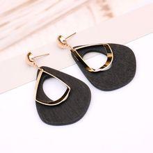Natural Wood Hollow Water Drop Dangle Statement Earrings Women Fashion Jewelry