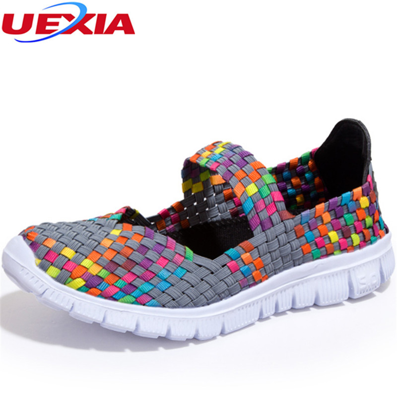 UEXIA 2018 New Handmade Women Flats Casual Shoes Breathable Female Woven Shoes Slip On Flat Ladies Loafers Handmade Mixed colors 2017 summer new fashion sexy lace ladies flats shoes womens pointed toe shallow flats shoes black slip on casual loafers t033109