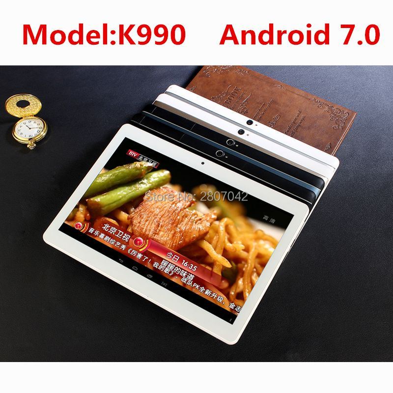 4G LTE K990 1920x1200 Android 7.0 Tablet PC Tab 10.1 Inch IPS Octa Core 4GB + 64GB Dual SIM Card Phone Call 10.1