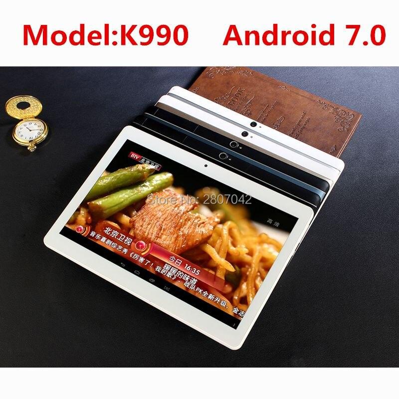 4G LTE K990 1920x1200 Android 7.0 Tablet PC Tab 10.1 Pouce IPS Octa base 4 GB + 64 GB Double Carte SIM Appel Téléphonique 10.1 Phablet