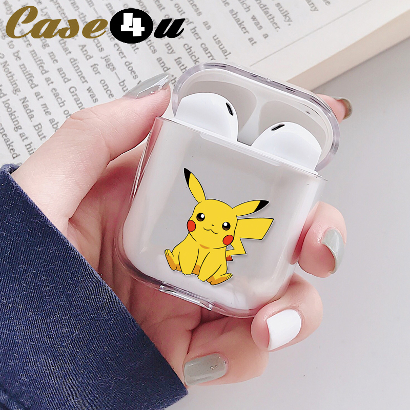 Cute Cartoon Pikachue Transparent Hard Case For Apple Airpods 1 2 Wireless Bluetooth Headphones Earphones Protection Cover Skin