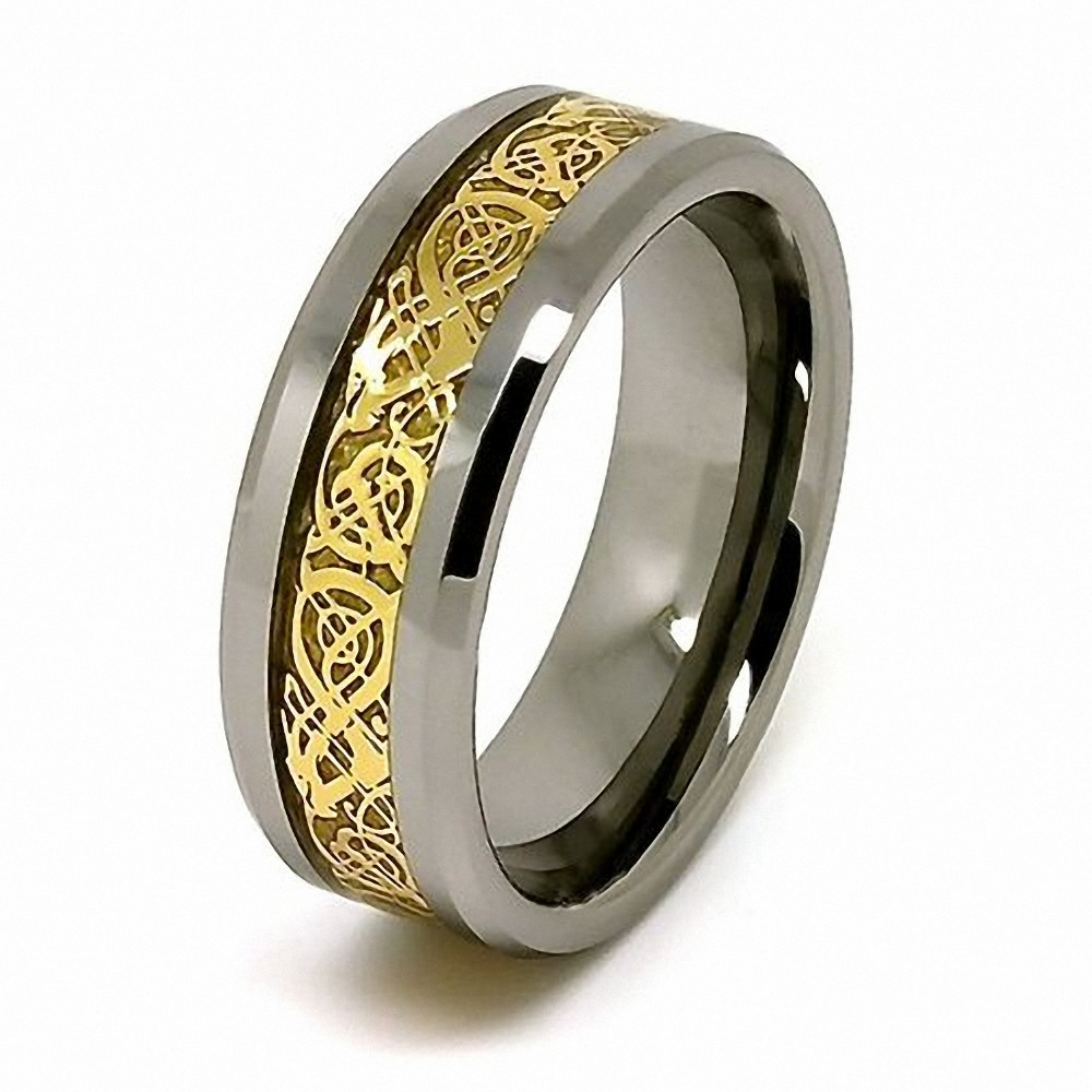 8mm-Tungsten-Ring-Celtic-Dragon-Gold-Inlay-Comfort-Fit-Wedding-Band-Polished-Finish