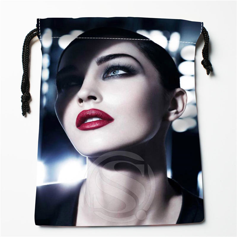 W-112 New Megan Fox 04 Custom Logo Printed  Receive Bag  Bag Compression Type Drawstring Bags Size 18X22cm E801wb112