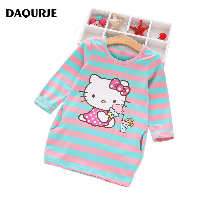 2016 Autumn Girls Dress Hello Kitty Cartoon Kids Dresses For Girl Clothes 2 8Y Children Vestidos