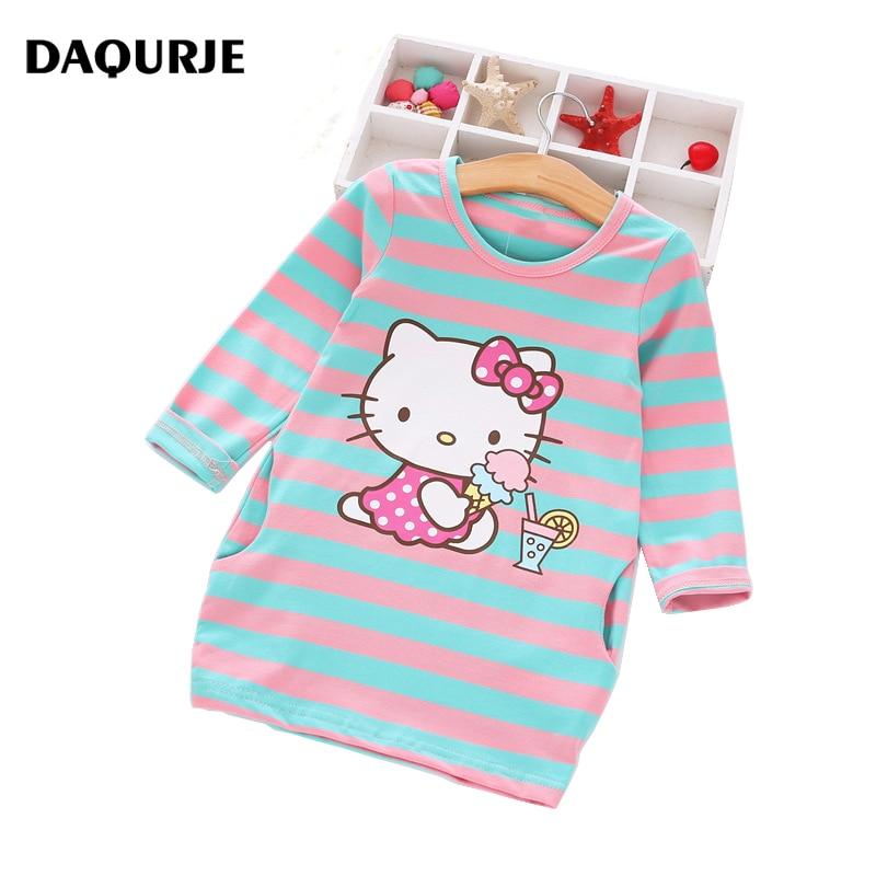 2016 Autumn Girls Dress Hello Kitty Cartoon Kids Dresses For Girl Clothes 2 8Y Children Vestidos