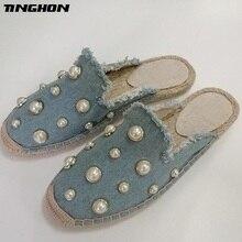TINGHON  Fashion Women Ladies Espadrille Shoes Denim Canvas Cowboy Pearls Hemps Fisherman Flats Loafers