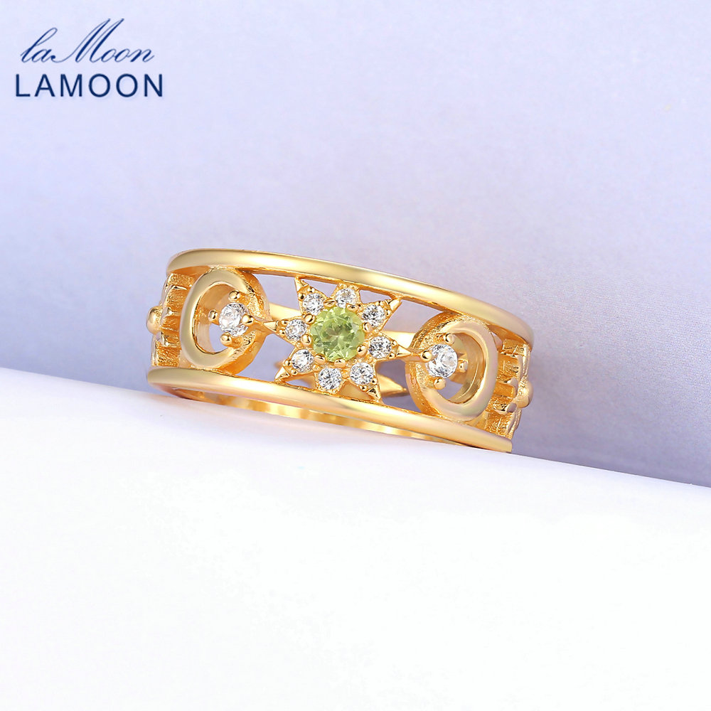 LAMOON Ring For Women Moon & Sun 100% Natural Green Peridot 925 Sterling Yellow Gold Plated Fine Jewelry LMRI077LAMOON Ring For Women Moon & Sun 100% Natural Green Peridot 925 Sterling Yellow Gold Plated Fine Jewelry LMRI077