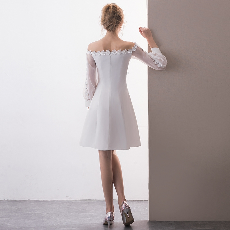 bd9f8d110cf11 US $64.2 25% OFF|Elegant Boat Neck Off The Shoulder Long Sleeve White  Cocktail Dresses Plus Size Short Evening Party Dress 2019-in Cocktail  Dresses ...