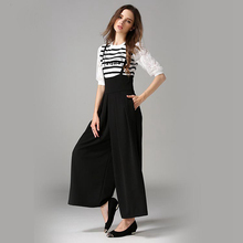 Jumpsuits Women Wide Leg Pants Solid Cotton Blended Fabric High Elastic Waist 3 Colors Ladies Rompers New Fashion Style 2017