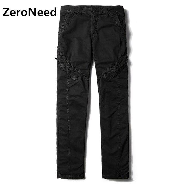 38da3f9296 US $27.26 47% di SCONTO|Mens pantaloni cargo tasche con cerniera laterali  pantaloni casual uomini all'aperto pantaloni lunghi moto sweatpant esercito  ...