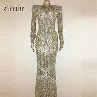Роскошные Блестящие кристаллы праздничное платье вечернее яркие Стразы длинное платье костюм певица платье для девочек на день рождения