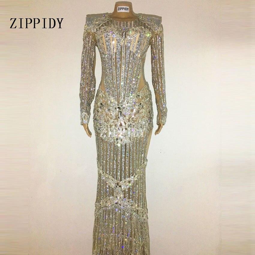 Luxueux cristaux scintillants célébrer robe soirée strass lumineux longue robe Costume femme chanteur robes d'anniversaire