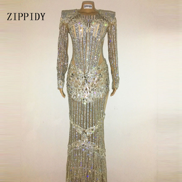 eded7e81ba US $880.0 |Luxurious Sparkly Crystals Celebrate Dress Evening Bright  Rhinestones Long Dress Costume Female Singer Birthday Dresses-in Dresses  from ...