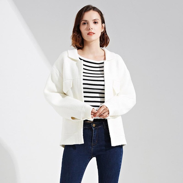 f04723c03 2017 Women Sweater Jacket Knitted Sweater Coat Tweed Autumn Winter ...