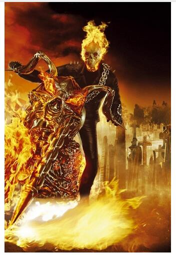Ghost Rider Action Thriller Movie Art Wall Decor Silk Print Poster image