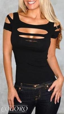 Ladies / Womans Sexy Ripped, Slashed Black Tight T Shirt, Top Clubwear