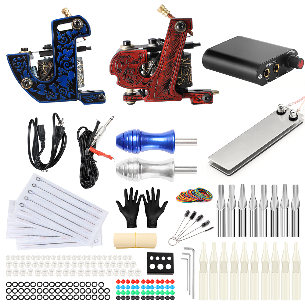 Stigma Tattoo Complete 2 Coil Tattoo Machine Kit Power Supply Foot Pedal Switch Needles Set TK201-31 бра colosseo lavinia 80373 2w