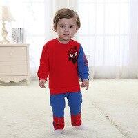 Новинка 2017 года для младенцев Одежда для маленьких мальчиков «Человек-паук» Толстовки для маленьких мальчиков и Брюки для девочек комплект...