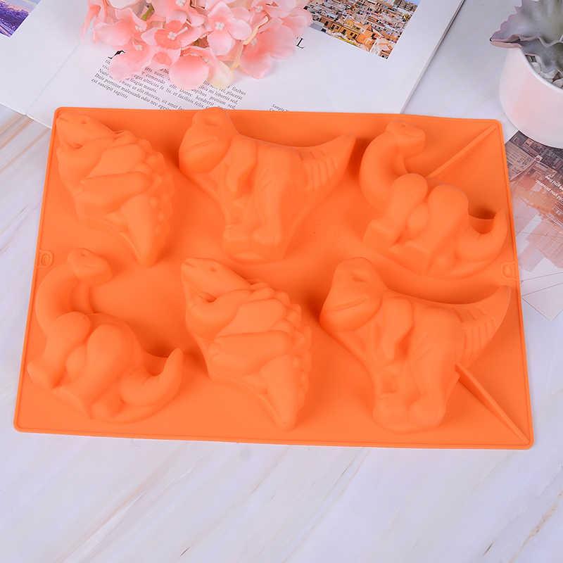 6 Holes Dinosaur Silicone Molde Pudim de Geléia Molde de Silicone Handmade Soap Mold DIY Molde Do Bolo Do Silicone