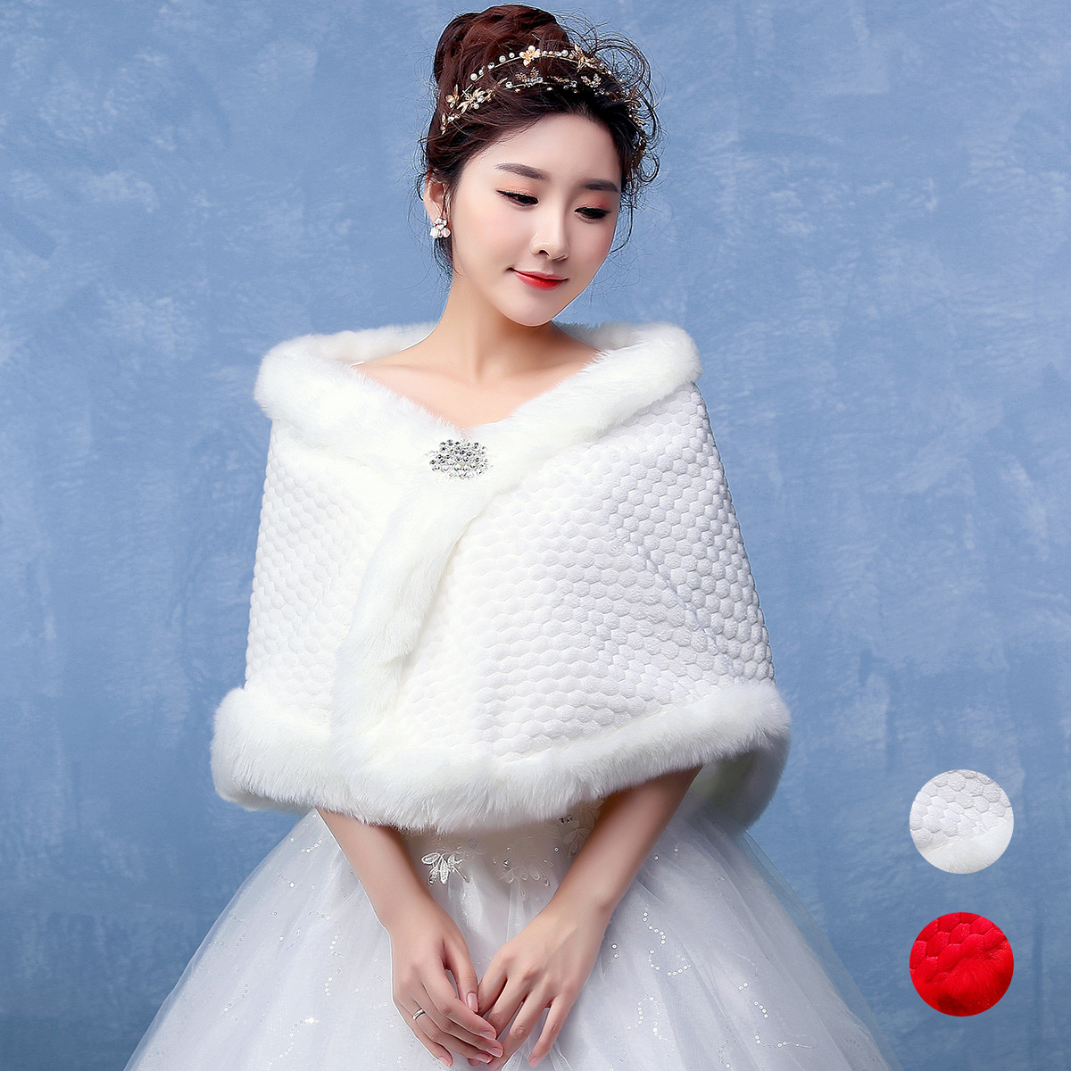 P046 Women Winter Clothes Bride Wedding Shawl Winter  Faux Fur Coat ritual Performance Imitation Mink Fur Wrapping Cloak