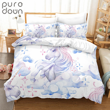 Puredown Duvet Cover Set 100% Polyester Queen Size Reactive Printing Bedding nevresim takimlari New Home Without Sheet