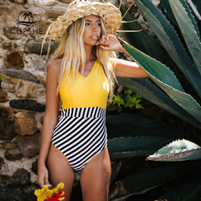 CUPSHE Sexy Yellow V Neck And Striped One Piece Swimsuit Women Boho Colorblock Monokini 2020 Girl Beach Bathing Suits