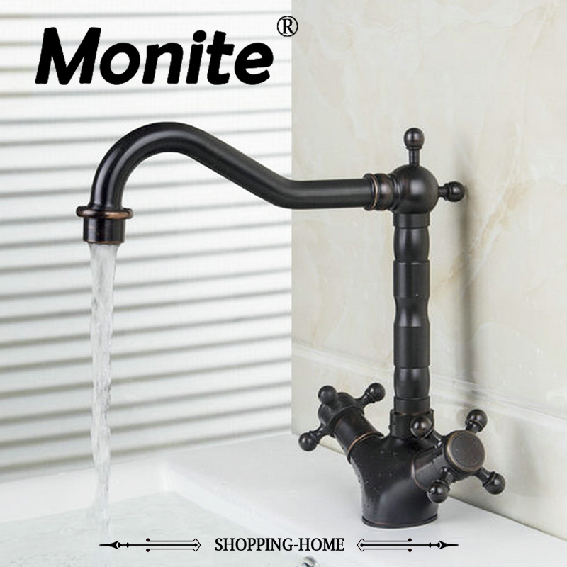 MONITE Kitchen Faucet Oil Rubbed Black Bronze Chrome Mixer Water Tap Kitchen Bathroom Wash Basin Faucet Cozinha Torneira allen roth brinkley handsome oil rubbed bronze metal toothbrush holder