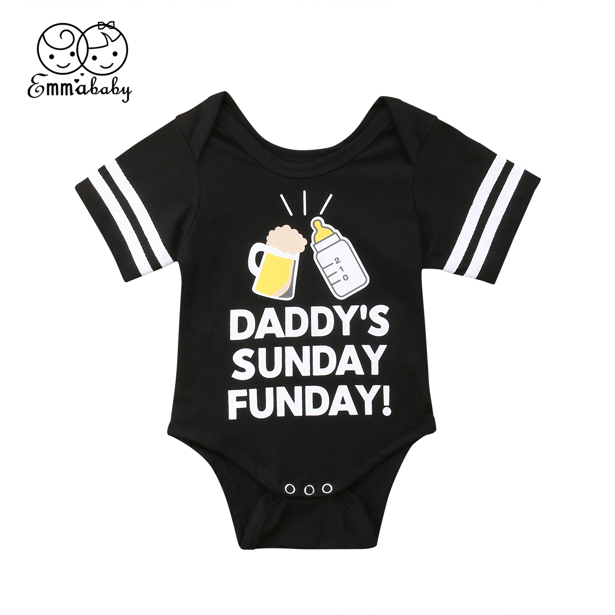 Fashion Newborn Baby Boy Girl Casual Black Beer Nipple Romper Jumpsuit Cotton Clothes -2645