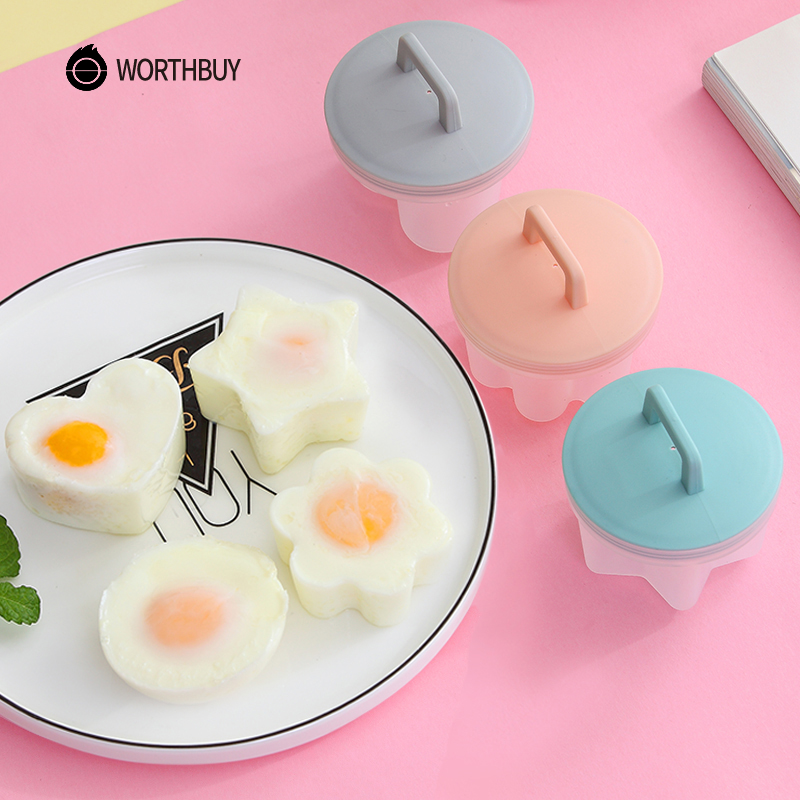 WORTHBUY 4 Pcs/Set Cute Egg Poacher Plastic Egg Boiler Kitchen Egg Cooker Tools Egg Mold Form Maker With Lid Brush Pancake