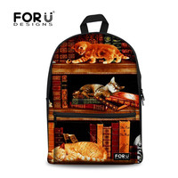 FORUDESIGNS Vintage Book Shelf Printed Children School Bags Funny Play Kitty Canvas Bagpacks for Teenager Girls Canvas Backpacks