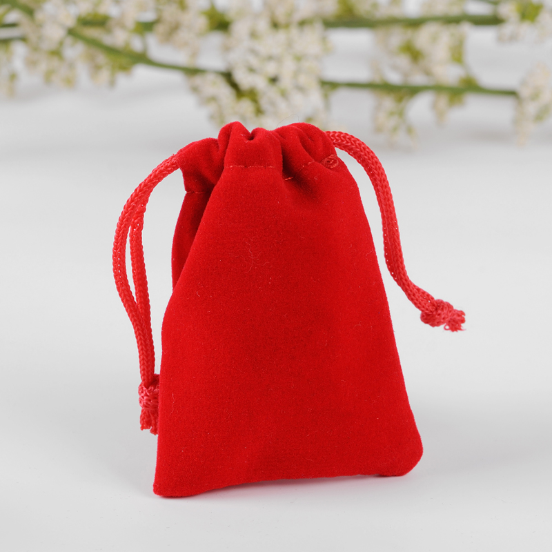 Small Bracelet Jewlery Pouch 10x15cm 50pcs/Lot In Stock Velvet Fabric Drawstring Bag Custom Logo