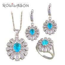 Rolilason clásico azul claro plata sellada conjuntos del pendiente/del collar/colgante/anillos de la joyería de la manera para el amante js674