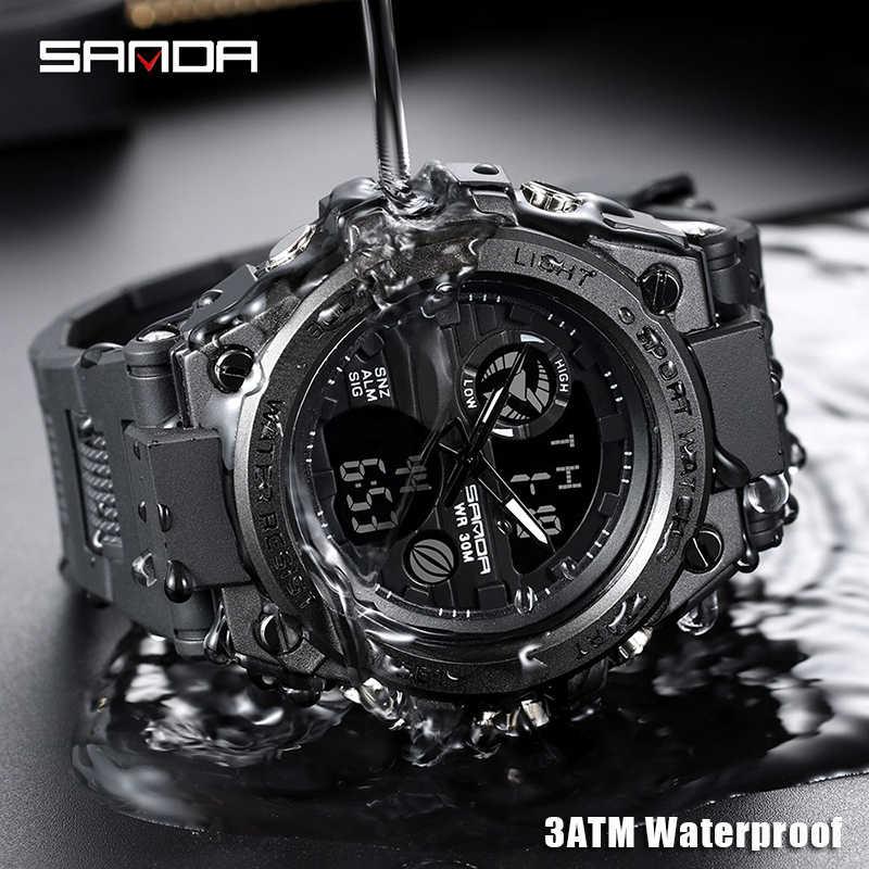 SANDA 739 스포츠 남성용 시계 브랜드 럭셔리 밀리터리 쿼츠 시계 남성 방수 S 쇼크 남성 시계 relogio masculino 2020