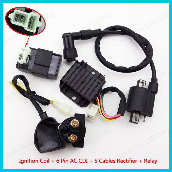 Ignition Coil 6 Pins CDI 5 Wires Voltage Regulator Rectifier Relay For 150 200 250cc Chinese honda 6 pin cdi wiring diagram efcaviation com gy6 5 wire rectifier wiring diagram at webbmarketing.co