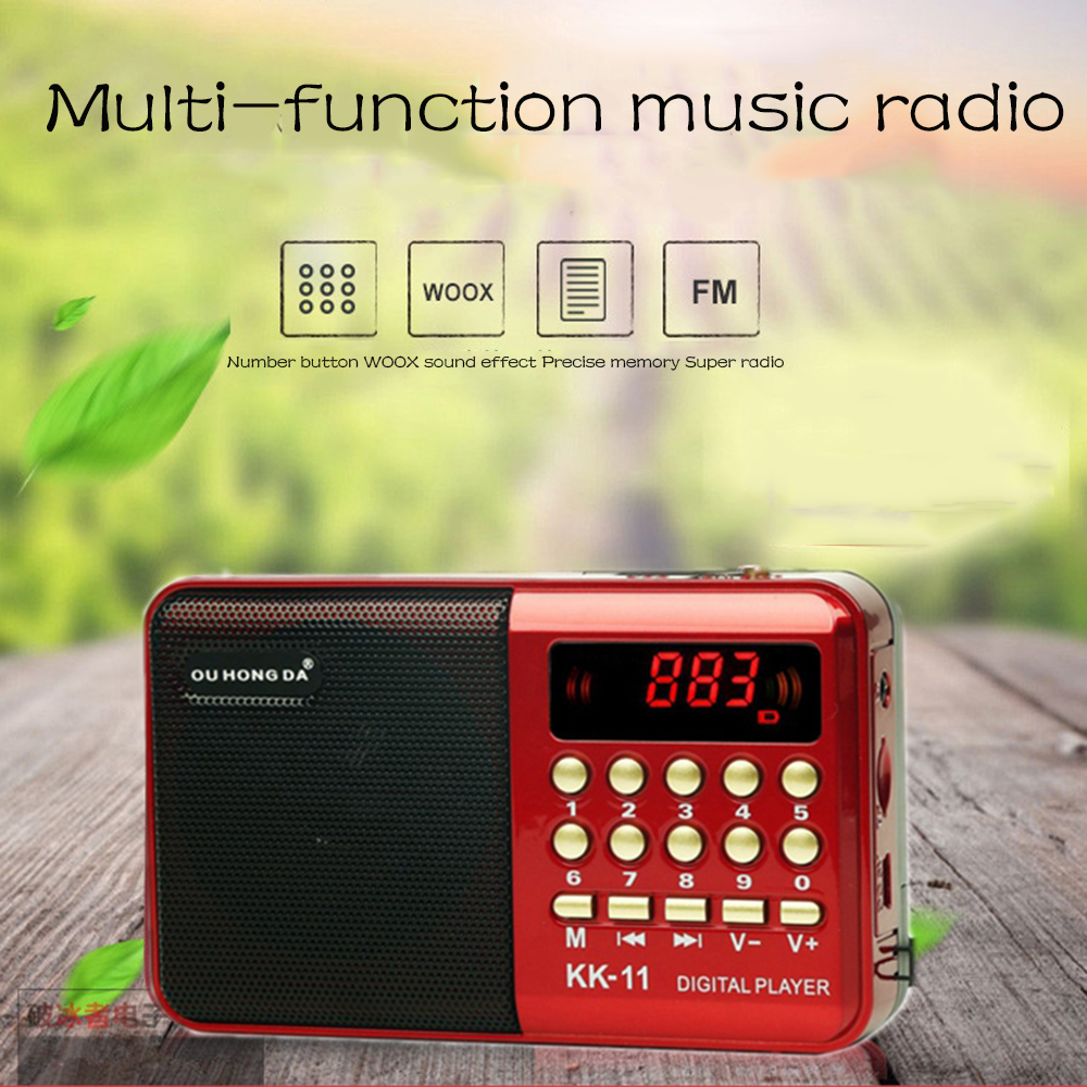 Radio Wireless Speakers Portable FM Radio Music Player Digital Mini Radio Multifunctional FM Sound Recorder Insert Card RADk11