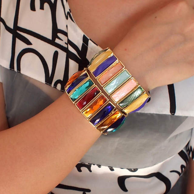 Gorgeous Acrylic Rectangle Shining Cuff Bracelet