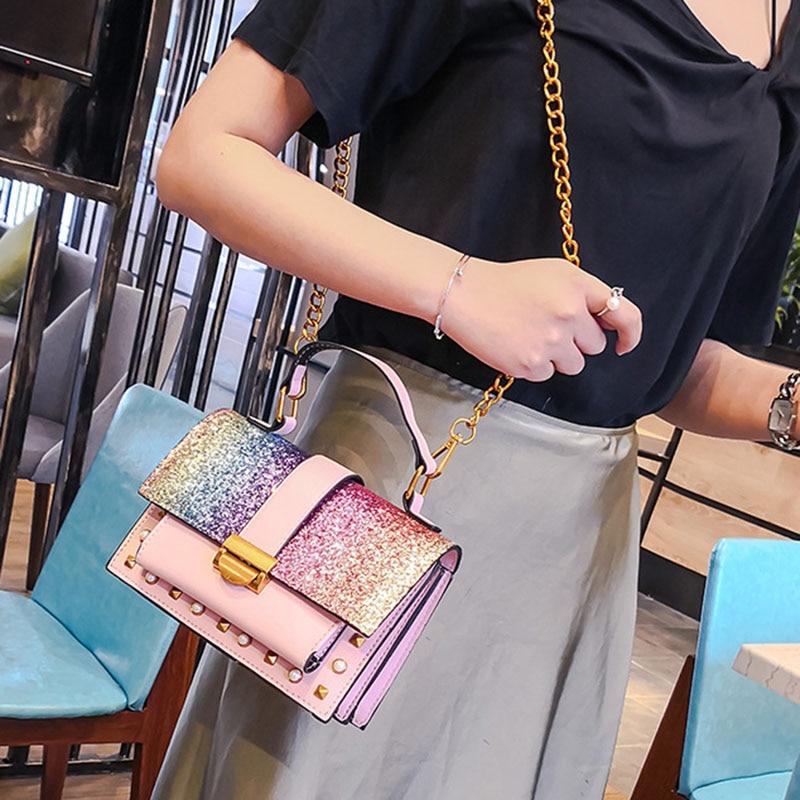 Women Handbag Fashion Sequin Female Exquisite Shoulder Bags Rainbow Rivet Crossbody Bag Messenger Bags Bolsos Mujer Tote SS7164