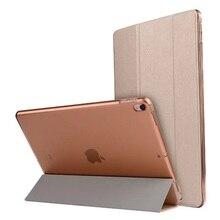 Caso para iPad Pro 10.5 inche Pu Transparente PC de Nuevo Ultra Delgado y Ligero de Peso Trifold Caso Elegante de La Cubierta para El Ipad Pro 10.5