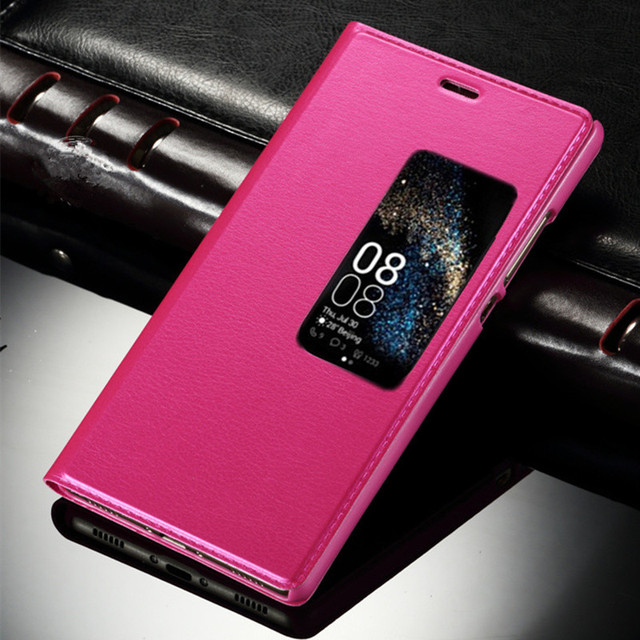 huge selection of b6133 9d6cb US $4.53 |For Huawei P8 P9Lite Honor 9 Smart Cover Leather Flip Case Call  Answer View Window Protective Shell Skin With Standing Function-in Flip ...