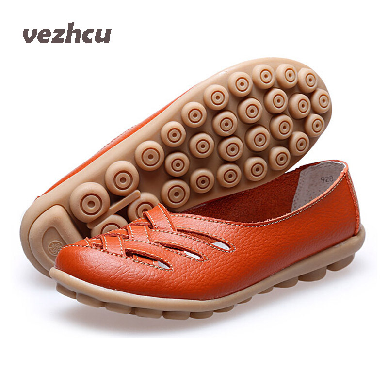 VZEHCU Women Sandals Summer Shoes 2016 New Fashion Genuine Leather Hollow Out Casual Flats Shoes Woman sandals women ac50 2017 fashion genuine leather casual loafers shoes women sandals summer shoes flats with hollow out size 35 44