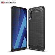 For Samsung Galaxy A70 Carbon Fiber Case Anti-knock Soft Tpu Brushed Rugged Rubber Armor For A 70 Silicone Hybrid Phone Cover