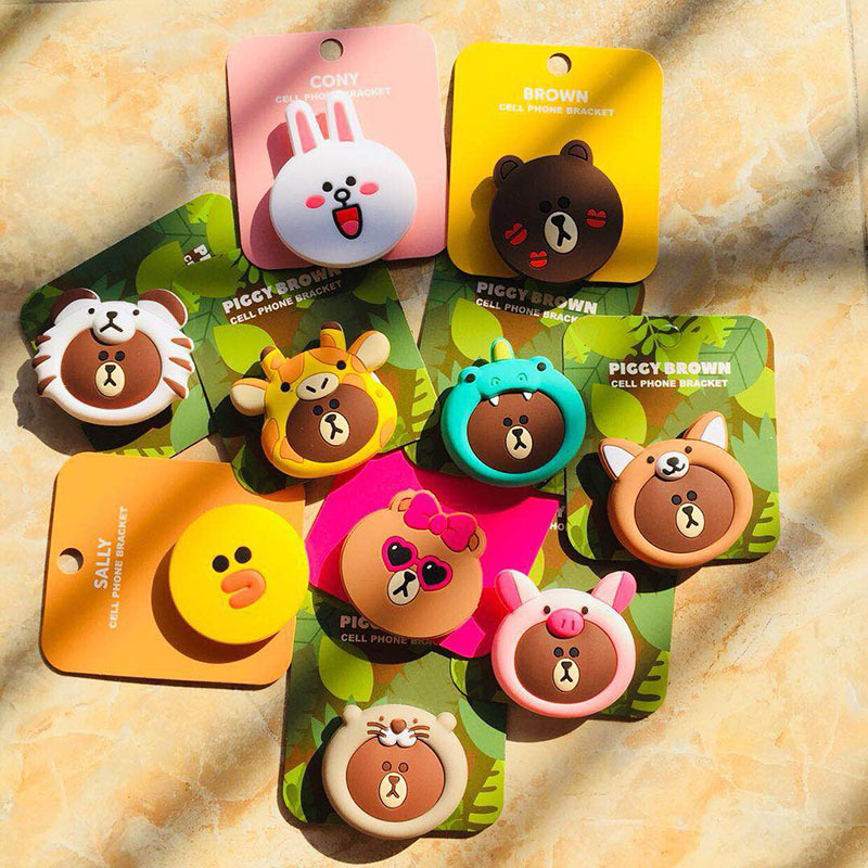 Korea 3D Cartoon Bear Bunny Silicone Phone Stand Holder Sticker For IPhoneX IPad Cellphone Accessories
