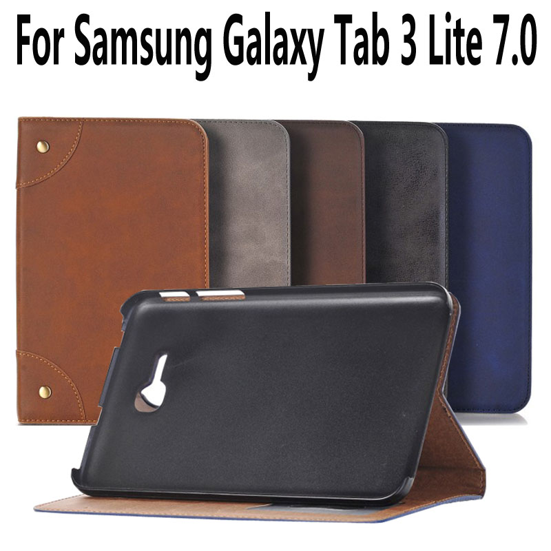 For Samsung Galaxy Tab 3 Lite 7.0 Case Leather T110 Retro Tablet Case For Samsung Tab 3 Lite 7 Cover with Stand Holder Coque universal car suction cup mount bracket holder stand for samsung galaxy note 3 more black