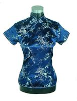 Navy BLue Chinese Women S Short Sleeve Shirt Tops Flower Blouse Satin Tang Suit S M