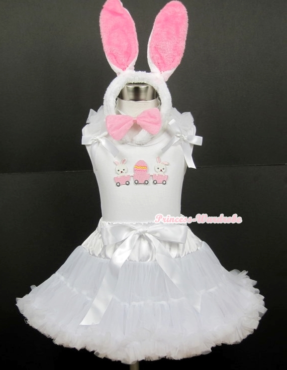 White Tank Top with Bunny Rabbit Egg Print with White Ruffles& White Bow & White Pettiskirt With White Rabbit Costume блокнот printio white rabbit