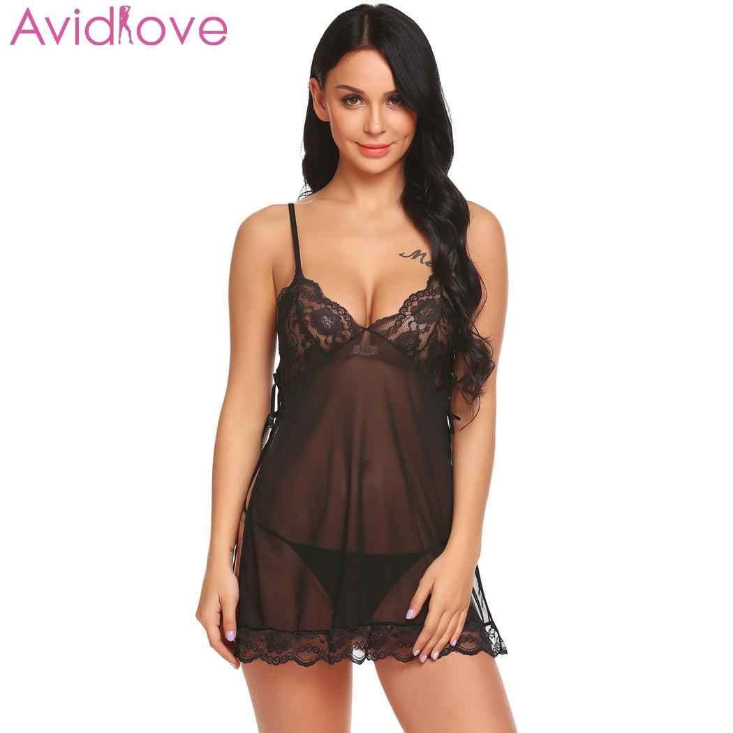 108ce6ede5b Avidlove Women Sexy Lingerie Erotic Lenceria Sexy Costumes Sheer Babydoll  Set Side Split with G-