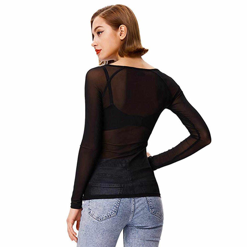 & 40 Wanita Atasan Transparan Blus Melihat Melalui Mesh Bulat Leher Lengan Panjang Tipis Kemeja Wanita Slim Tops Camisas mujer 2019