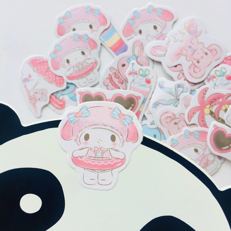 45 Sheets Cute My Melody Cartoon Decorative Stickers Stick Label Hand Account Notebook Computer Decoration