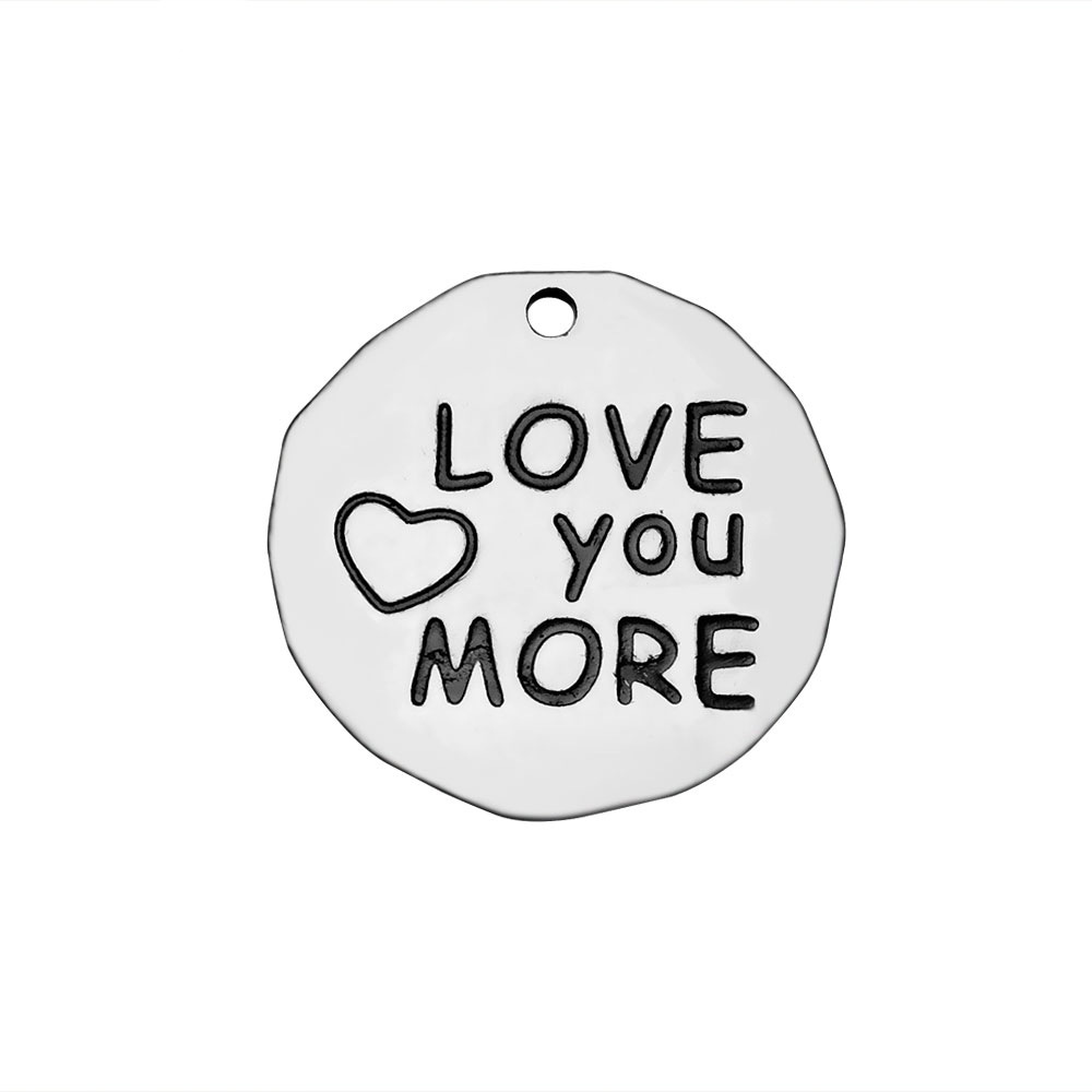 10pcs/lot Stainless Steel love you more bead tag charms fit for bangle bracelet diy jewelry making women