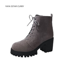 SSTAR New female 2018 lace European and American women short boots single boots high - heeled boots with rough Walking Shoes